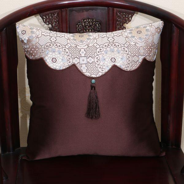 Tassel Patchwork luxe chinois soie satin Coussin couverture Canapé Chaise Soutien lombaire Retour Coussin bureau décoratifs pour la maison taies d'oreiller