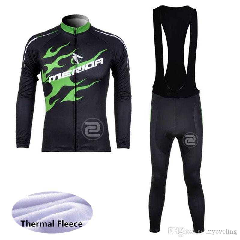 MERIDA CCCTeam Riding Winter Warm Wool Cloth (Bib) Pantalones Nuevo Spring Men Sportswear Warm Ropa Ciclismo A42713