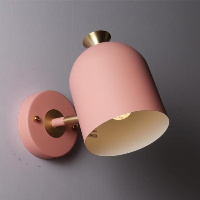 Lámpara de pared simple Color nórdico Dormitorio Luz de la pared Luz moderna de la sala de estar Lámpara creativa del pasillo Macaron Estudio Lámparas de pared