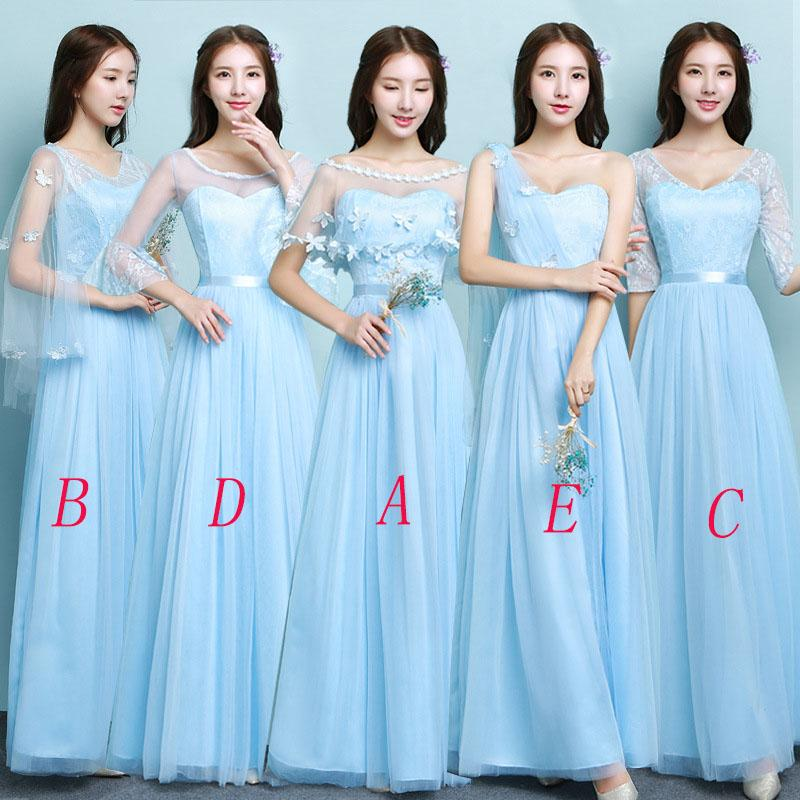 Beş Stilleri Mavi / Gri Gelinlik Modelleri 2018 Zarif Parti Düğün için kapalı Omuz Elbiseler robe de soiree Mingli Tengda