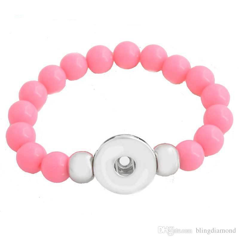 Haute Qualité 10 mm Imitation Perles Bracelet Fit 18 mm Noosa Snap Bouton Pour Femmes