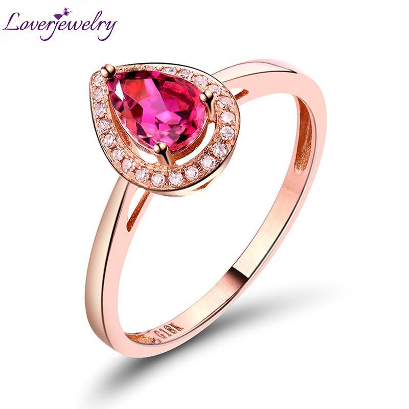 Um direto anel de turmalina de pera natural com diamante no sólido 18kt rosa anel de casamento de ouro 4x6mm top venda wu248 s923