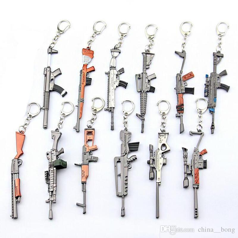 12cm kechain 게임 밤 배틀 로얄 소총 기계 총 모델 키 링 팬 기념품 선물 장난감 어린이를위한