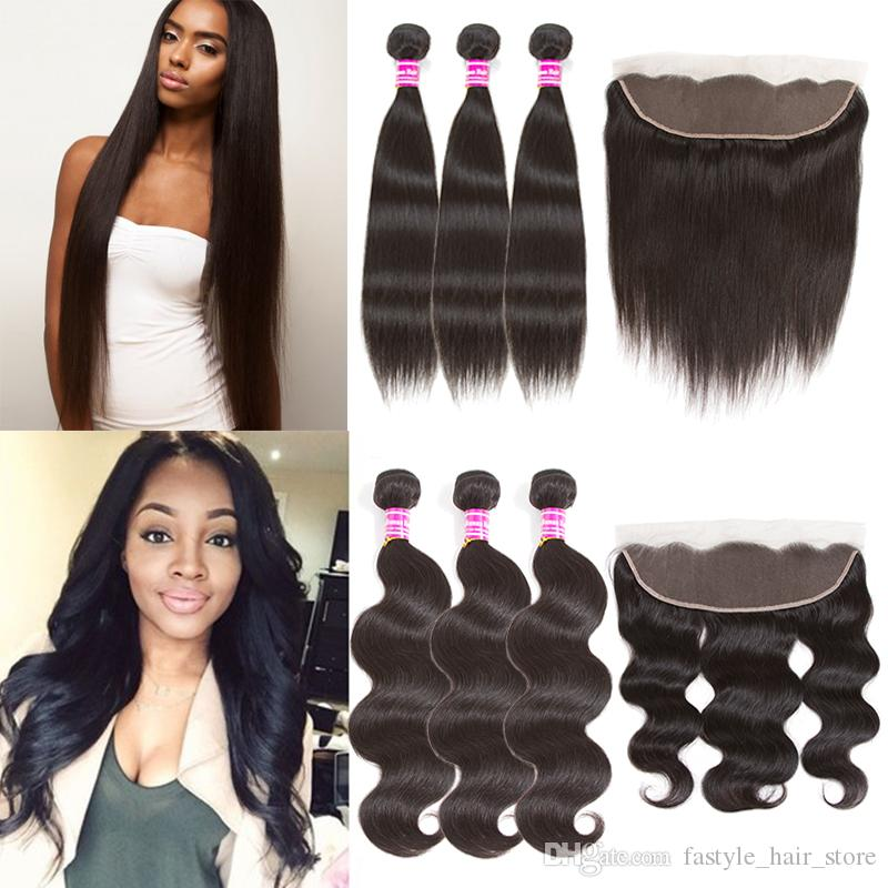 Mink Brazilian Straight Body Wave Human Hair Bundles With Ear To Ear Lace Frontal Raw Indian Virgin Human Hair Weaves Hair Extensions Hot