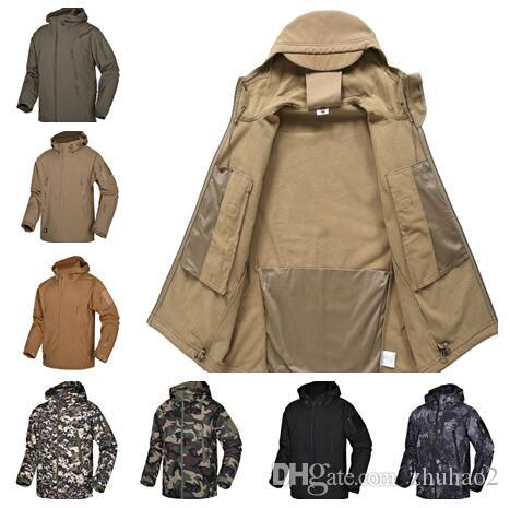 Softshell Jacket Outdoor Camouflage Suit Coats Shark Skin Hiking Waterproof Breathable Winter Windproof Soft Shell jacket Full Zipper A02