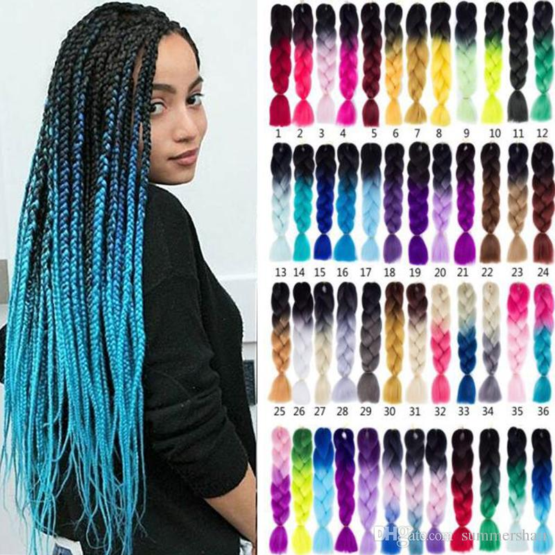 Ombre Kanekalon Braiding Hair Extensions High Temperature Kanekalon Synthetic Fiber for Twist Crochet Two Tone Ombre Jumbo Braiding Hair