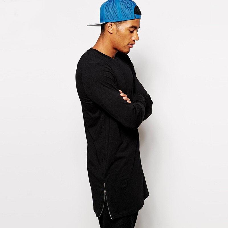 Moda Masculina Casual T Camisa de Manga Longa Oversize T-shirt Homem Curva Hem Lado Zip Hip Hop Algodão Sólido O Pescoço Top Tees Venda Quente