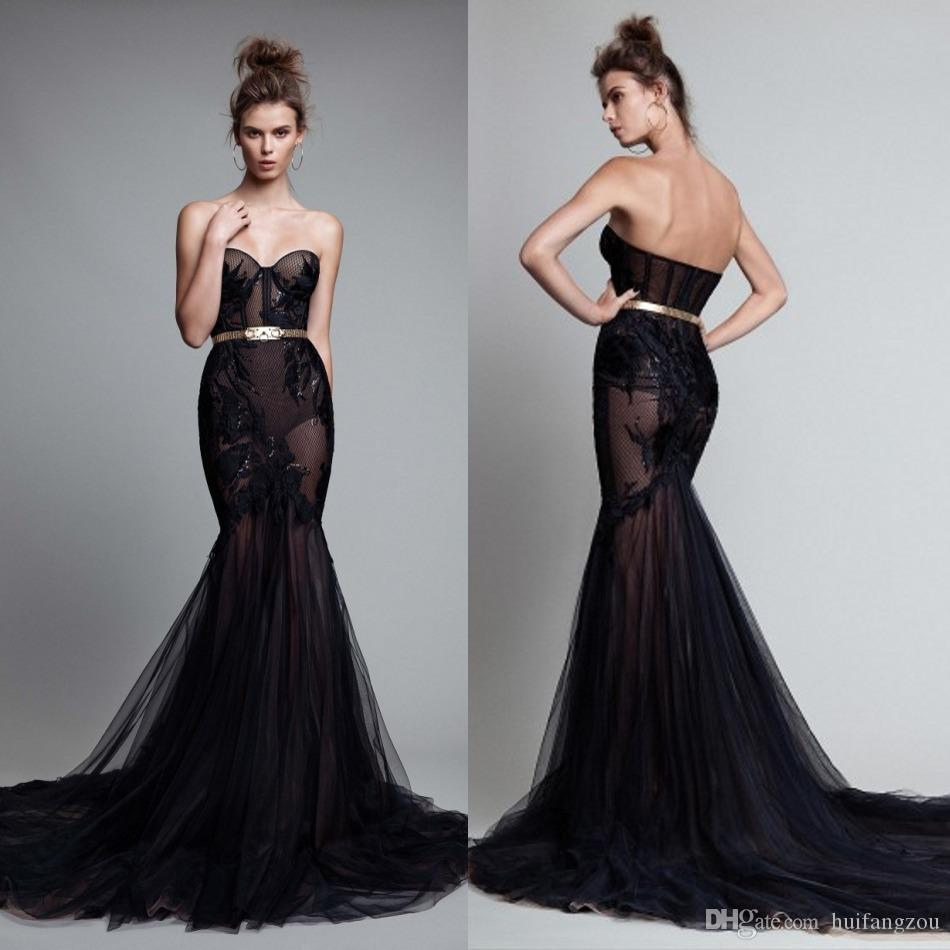 Berta 2019 Black Prom Dresses Sexy Illusion Lace Applique Mermaid Evening Gowns Backless Sequins Party Dress With Sash