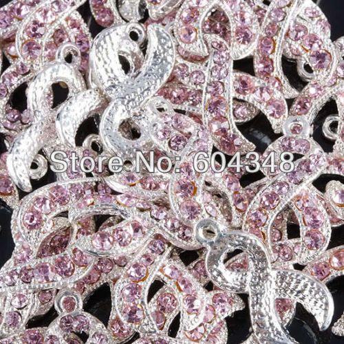 100 pcs cor prata rosa cristal rhinestone fita câncer de mama consciência encantos Dangle Beads Pingente de jóias