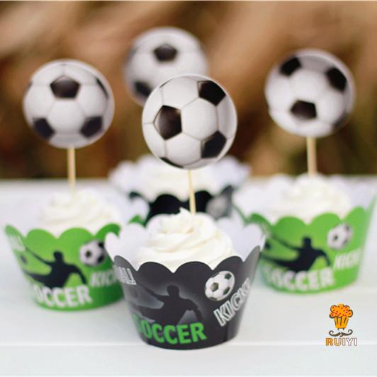 Newqueen Football Sport Balls Cupcake Toppers Sport Theme Party Decorations Supplies Pack of 24