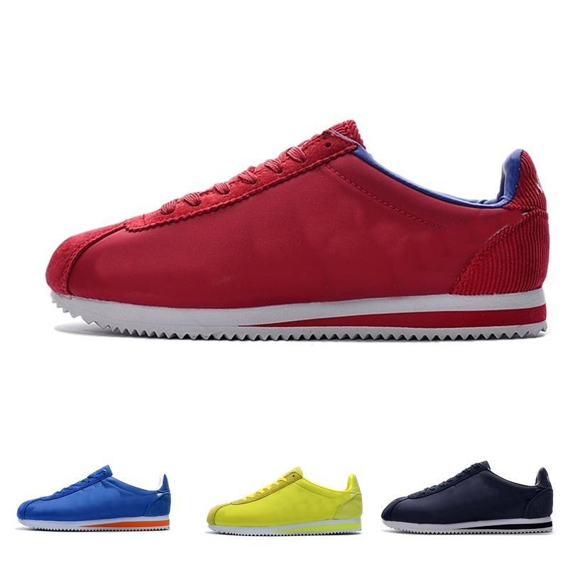 Nueva venta caliente Mujeres para hombre Athletic Classic Cortez Nylon PRM Running Sneaker Adlut Pink Negro Rojo Blanco azul Ligero Sport Run Shoes 36-44