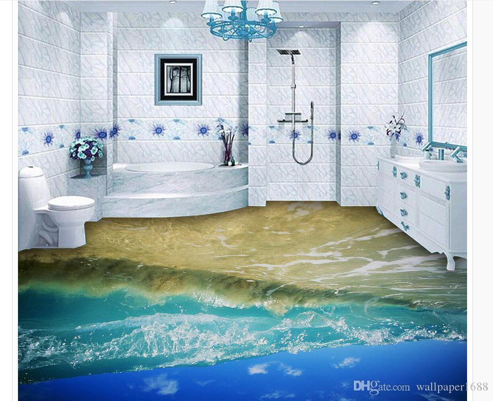 Niestandardowy obraz olejny 3D ocean fala podłogi dekoracyjne malarstwo tapety do łazienki wodoodpornej