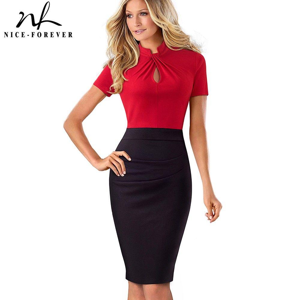 vendita all'ingrosso di contrasto di colore dell'annata Patchwork indossare al lavoro Knot vestidos aderente Ufficio Affari guaina donne vestono B430