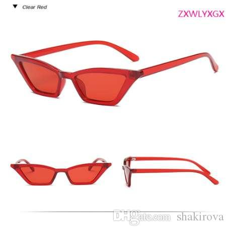Renkli Yeni Moda Güneş Gözlüğü ZXWLYXGX Güneş Gözlüğü Renkli Ms.man Küçük Cateye Şeffaf Retro Swoxh
