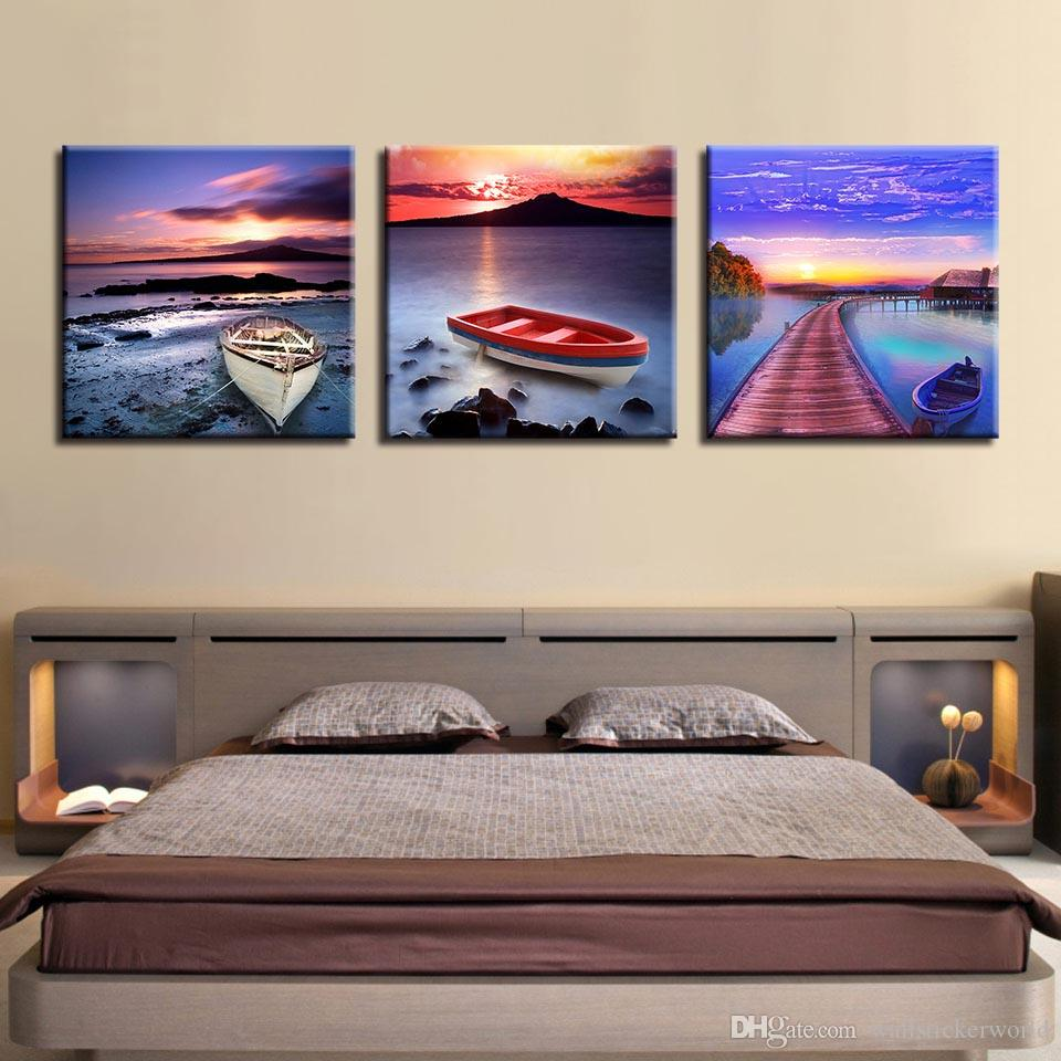 Canvas Paintings Wall Art Home Decor HD Prints 3 Pieces Ocean Sunrise Scenery Pictures Bridge Boat Poster Living Room Framework