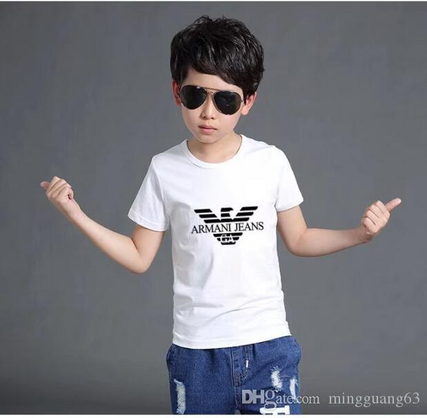 موضة جديدة للأطفال قصيرة الأكمام تي شيرت الأولاد قمم الملابس تيز أطفال تي شيرت بنات كلاسيكي القمصان الملابس