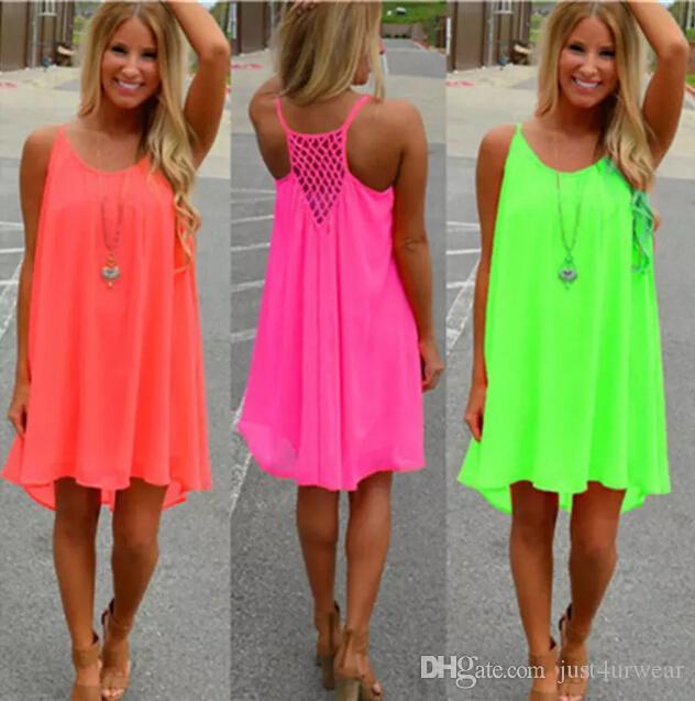Frauen Sexy Lose Spaghettibügel Kleid Strand BOHO Kleid Sommer Helle Farbe Ärmellos Chiffon Minikleid Frauen Kleidung Plus Größe S-5XL
