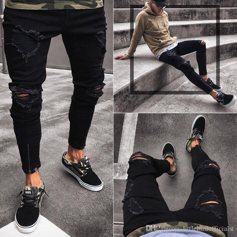Hombres de la moda Agujero delgado Zipper Denim Jeans 2018 Nuevo Verano Pantalones Frayed desgastados Desgastados Rip Troursers
