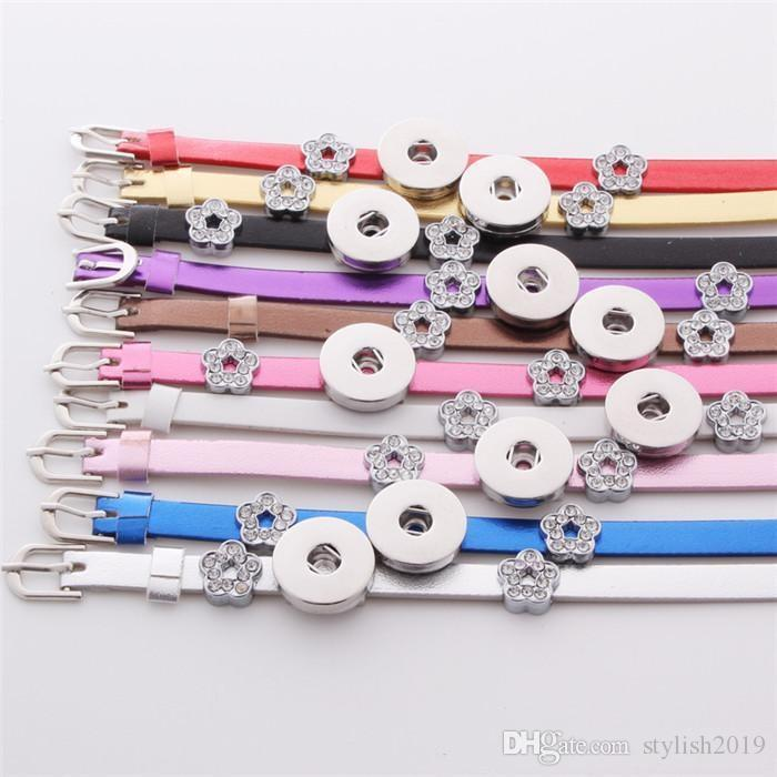 Noosa Bracelet Multicolor Mix DIY Ginger snap button Leather Bracelets Fit 18mm snap button Charms Jewelry B107
