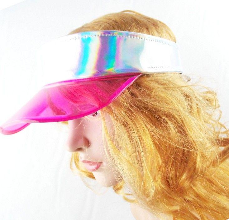 2020 Summer Unisex Plastic Visor Empty Laser Top Elastic Sun Hat Clear Dealer Tennis Beach Hats UV Protection TPU Caps