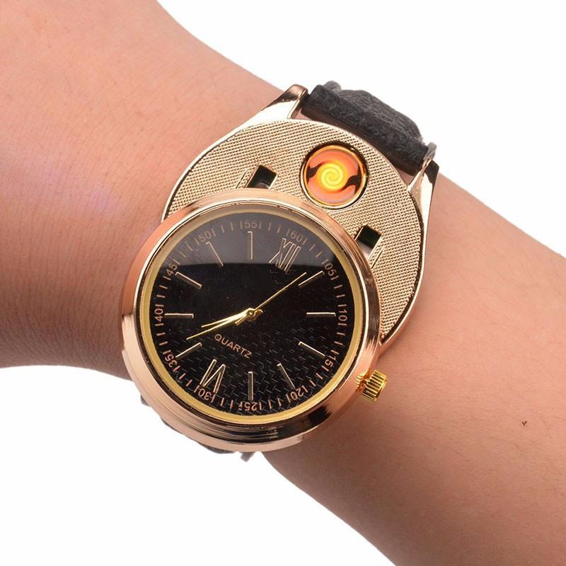 Homens assistir relógios mais leves de Carregamento USB relógio esportivo de quartzo dos homens Relógios de Pulso Casuais com À Prova de Vento Sem Fumaça de Cigarro Relógio mais leve