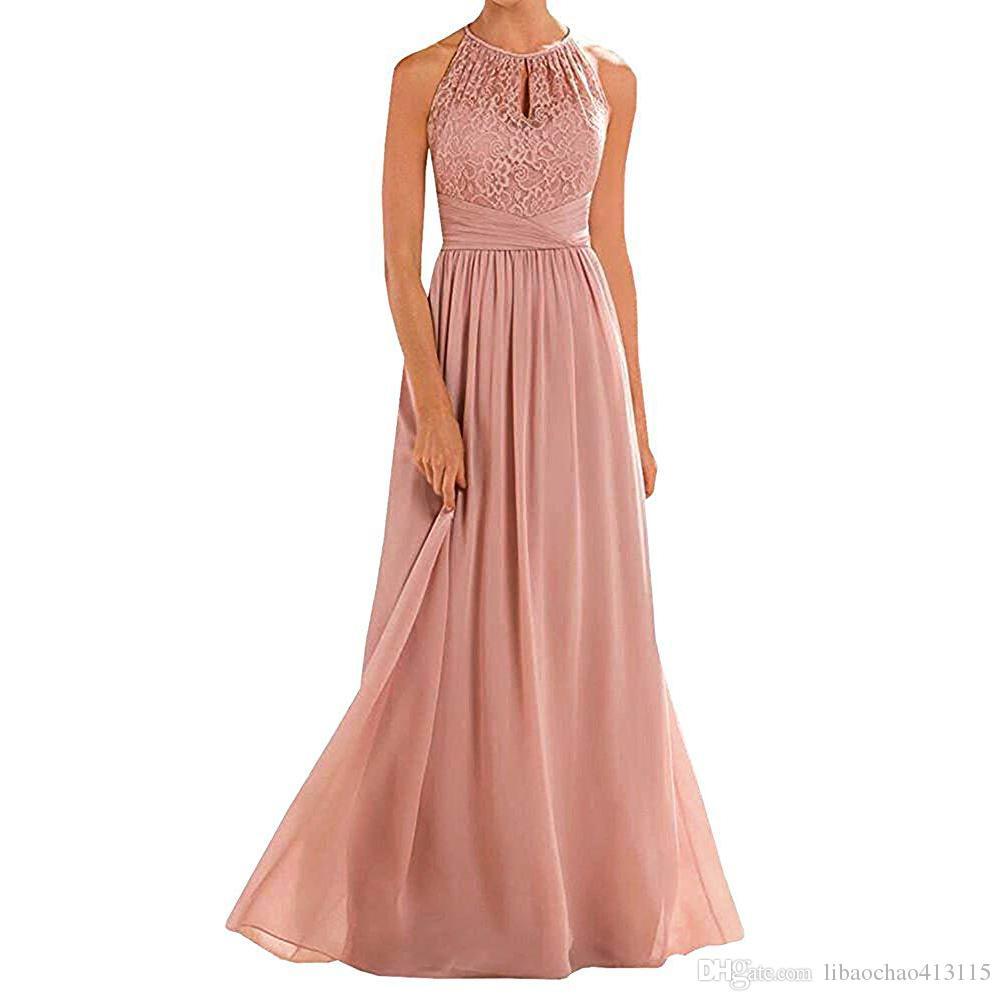 Großhandel Halfter Spitze A Line Chiffon Bodenlangen Kleid Brautjungfer  Vestido De Festa Langes Kleid Für Hochzeitsfeier Für Frau Brautmädchen  Kleider