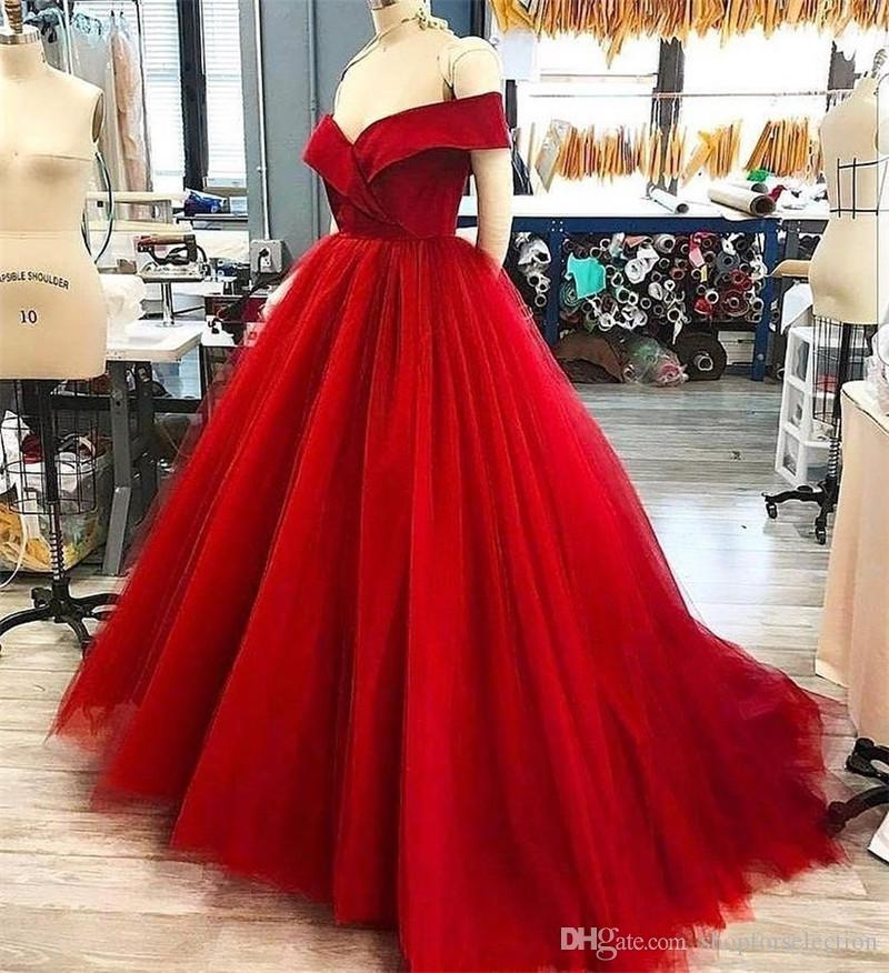 Red Off Shoulder Cheap Prom Dresses 2019 A Line Plus Size Long Tulle  African Arabic Girls Formal Evening Party Gowns Custom Made Prom Dresse  Prom ...