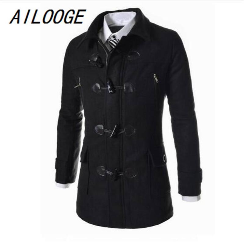 AILOOGE Kış Yüksek Kaliteli erkek Yün Boynuz düğme Palto Rahat Palto Moda Yün ceket erkekler Rüzgarlık ceket Peacoat