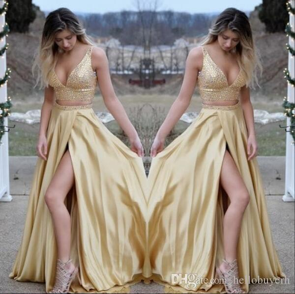 Sexy Gold Two Pieces Satin V Neck Long Prom Dresses Slit Court Train Dresses Evening Wear 2018