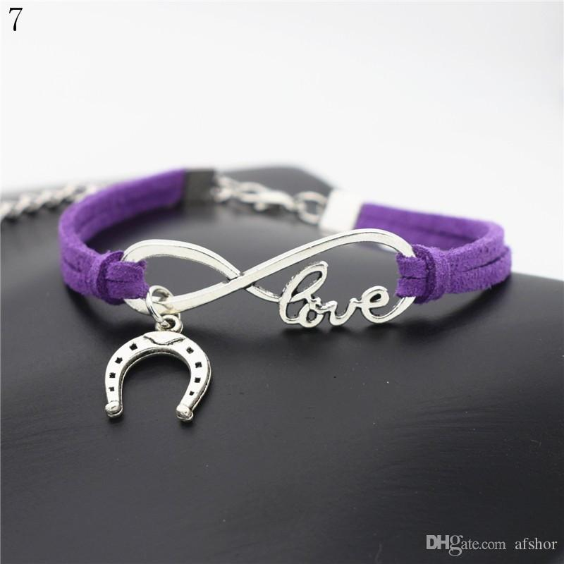 Hot Sale Simple Purple Leather Cuff Silver Color Infinity Love U shaped Horseshoe Charm Bangles For Women Men Metal Bracelet Fashion Jewelry