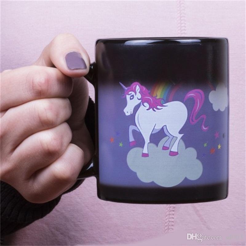 Einhorn-Regenbogen-Farben-Änderungs Cup Wärmeinduktion Keramik Tassen Kaffee Unicornio Tumblers für Kinder Geburtstags-Geschenke 16xS ZZ
