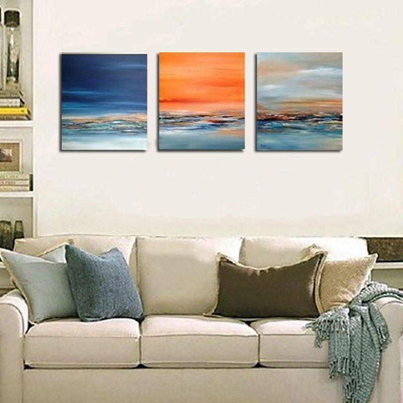 Arte de la pared hecho a mano pintura al óleo moderna pinturas abstractas imagen en lienzo de pared cuadros para sala de estar envío gratis paisaje marino