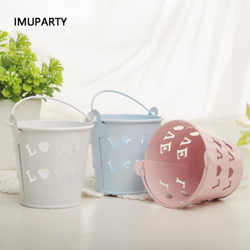10pcs Mini Hollow Love Iron Bucket Candy Box Wedding Decorations Birthday Party Favors Package for Guests Mini Flower Basket