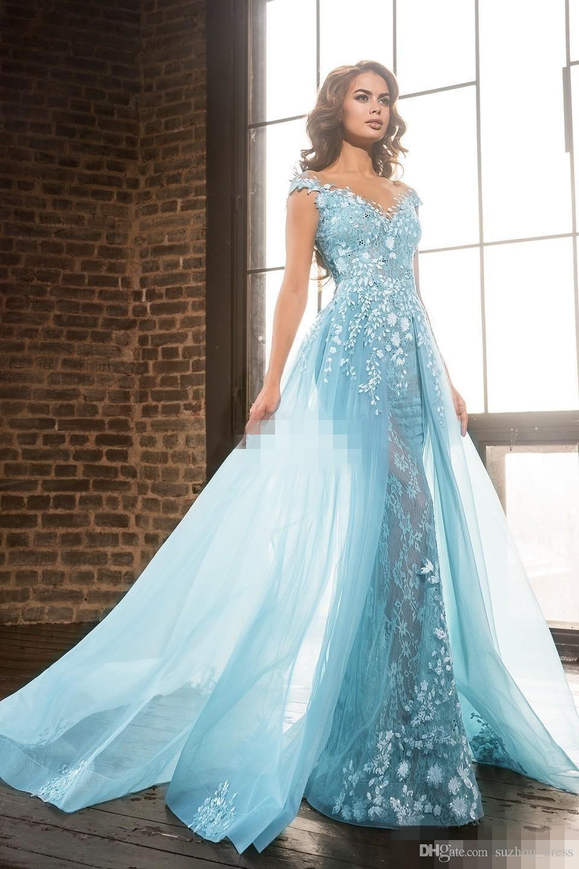 2018 Elie Saab Overskirts Pageant Celebrity Dresses Arabic Sheer ...