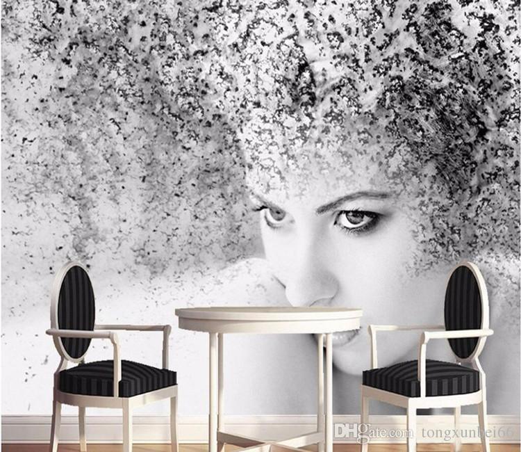 papel de pared personalizado de la foto calidad de lujo HD negro blanco belleza artística espacio abstracto fantasía 3d gran mural de pared de papel tapiz