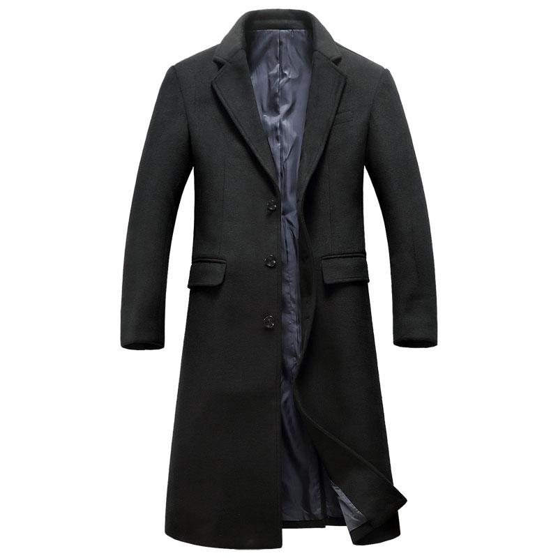 Herren Trenchcoat Fit Dicken Coat Mantel 2018 Großhandel Extra Männlichen Windbreaker Pea Marke Männer Lange Slim Einreiher Wolle Lange Von Winter 4A5Rj3L