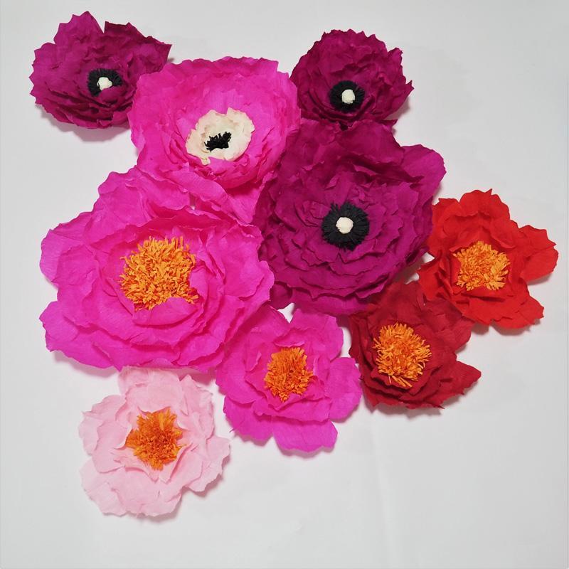 Dev Krep Kağıt Yapay Çiçekler Düğün Olay Arka Planında Dekor Için 9 ADET Bebek Kreş El Yapımı El Sanatları Özelleştirilmiş