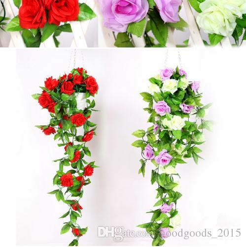 Artificial Plants Green Leaves Vine Simulation Cane Adornment Flowers Garland Home Wall Party For Decoration Rose Vines 2.4m c409
