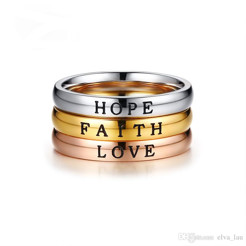 HOPE FAITH LOVE Rings for Women Three Color Stainless Steel Girls Best Friends Party Ring Finger Accessories