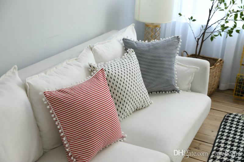 Fundas de cojines de estilo nódico ins Hot Cotton Linen Blends Striped Cushion Cases para la decoración del hogar envío gratis