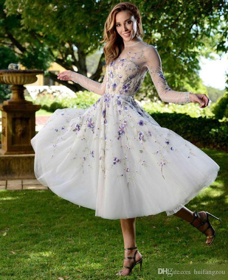 Robes de bal élégant illusion coule manches longues manches longues 3d applique robe de soirée courte soir Sexy Dossier sur mesure