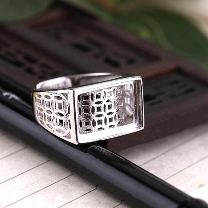 925 Sterling Silver Women Men Engagement Wedding Ring 11x16mm 9.5x14.4mm Princess Cabochon Semi Mount Vintage Ring Open/Adjustable