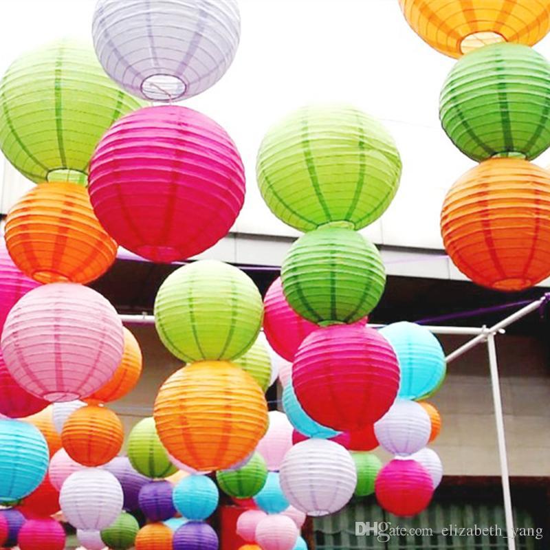 Venda quente Chinês Lanternas De Papel Para Decoração de Casamento Festa Suprimentos Branco Pendurado Papel Bola Lâmpada LED
