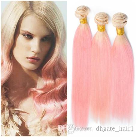Bundle de cheveux brésiliens n ° 613 / rose Ombre traite 3Pcs Bundles soyeux blonds et roses à deux tons Ombre