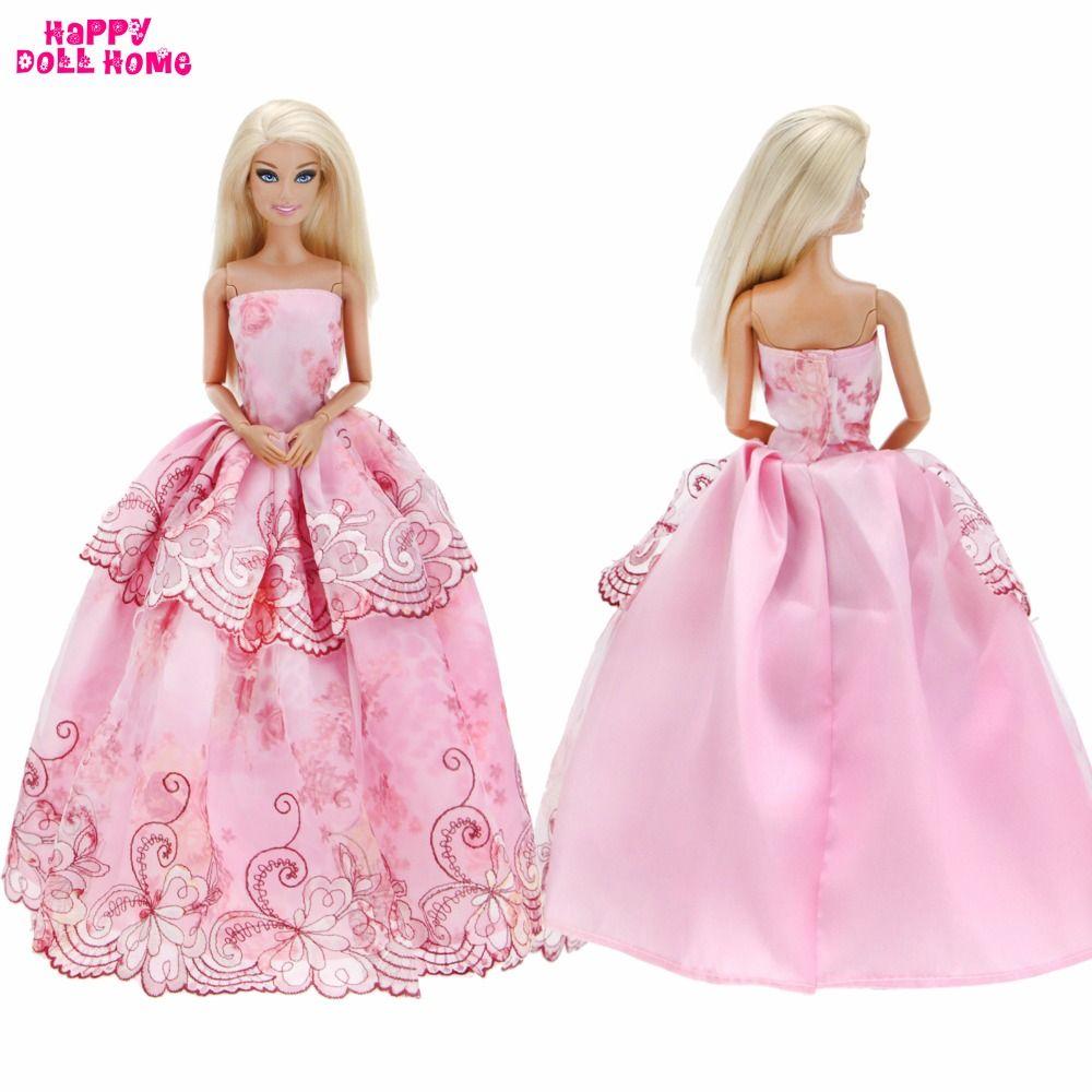 Handmade Dolls Clothes Fashion Wedding Dress Lace Princess Strapless ...