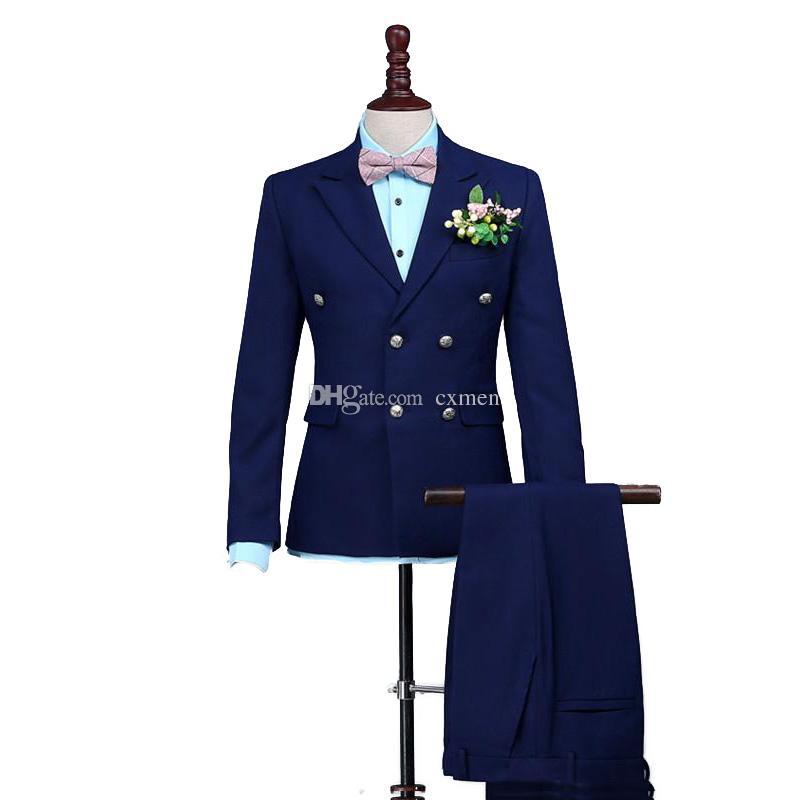 Темно-синие мужские костюмы для свадьбы двусмысленные на заказ Groomsmen Suits Pireed Lapel Best Man Blazers 2 шт. Куртка