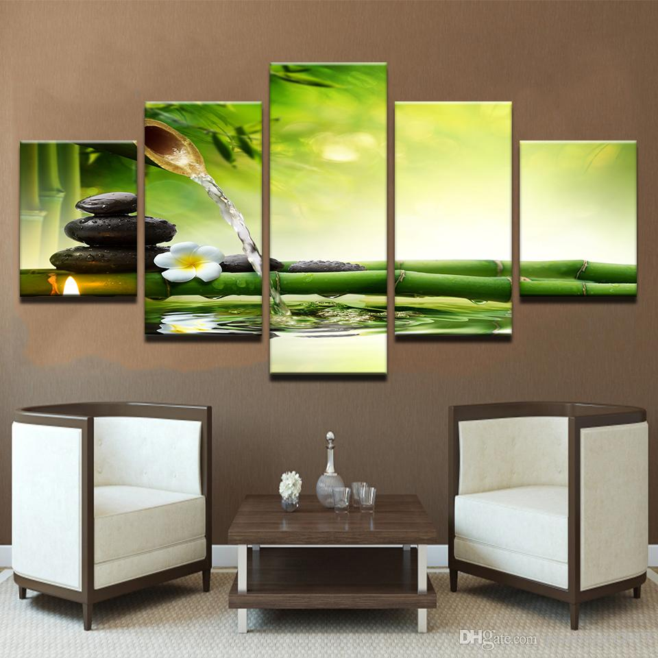 Sala de estar HD Impreso Pintura Home Decor Poster 5 Panel Spring Stone Bamboo Agua corriente Modern Wall Art Pictures