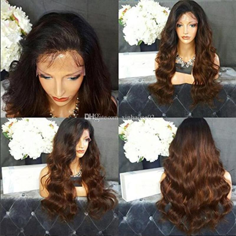 Glueless Full Lace Ombre Wigs Natural Wavy Lace Front Wigs Brazilian Hair Ombre #1bT30 Human Hair Wigs With Baby Hairs Dark Roots