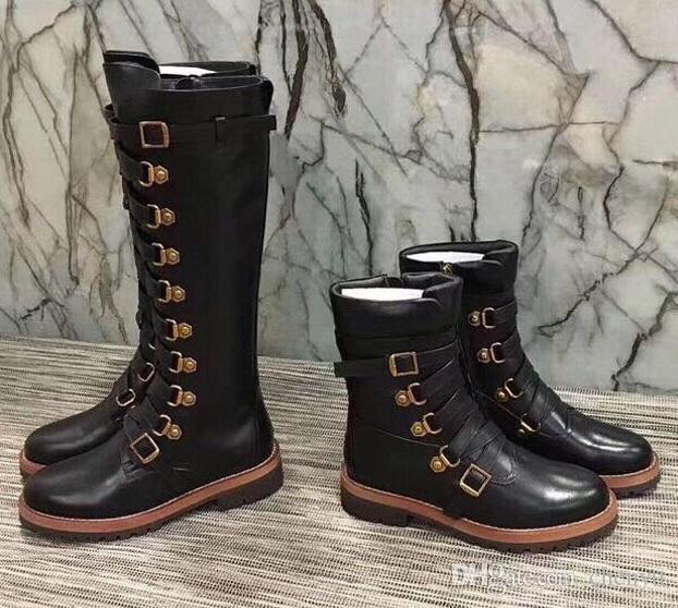 2018 أزياء أوروبية وأمريكية ، جلد جديد ، قمة مستديرة ، أحذية عالية ومنخفضة ، أحذية سحاب خشنة وسحاب جانبي.
