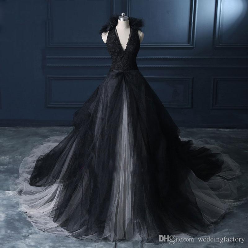 Vintage 2019 robe de mariée Ivoire noir et blanc gothique col en V sans manches en dentelle appliques jupe en tulle robes de mariée volants
